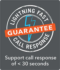 Lightning Fast Call Response Guarantee of less than 30 seconds